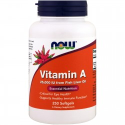 NOW Foods Vitamin A 25000IU 100 kapslit.