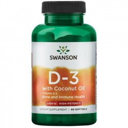 Swanson Vitamin D3 w/Coconut Oil - 2000IU - 60 softgel.
