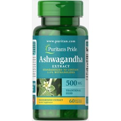 Puritan's Pride ASHWAGANDHA STANDARDIZED EXTRACT 500 MG - 60 kapslit.