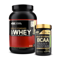 OPTIMUM NUTRITION 100% GOLD STANDARD WHEY 907g +ON Gold Standard BCAA Train + Sustain 266g